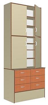 Шкаф задней линии с дверками, размер 900*458(300-верх)*2186(Н), 6 ящиков на метабоксах, полки, дверки ЛДСП. Материалы: ЛДСП 2-х цветов (основной и декор),кромка ПВХ 0,4 и 2,0мм, ЛХДФ для задней стенки, регулируемые ножки. Место установки и кол-во замков- заявляется заказчиком при оформлении заявки.