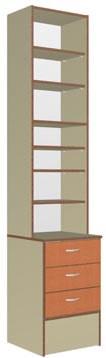 Шкаф задней линии, размер 450*458(300-верх)*2186(Н), 3 ящика на метабоксах, полки.Материалы: ЛДСП 2-х цветов (основной и декор),кромка ПВХ 0,4 и 2,0мм, ЛХДФ для задней стенки.