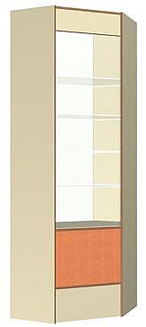 Витрина передней линии Угол внутренний, размер 720*720*2186(Н),подсветка 1 светильник ЛЛ. Материалы: ЛДСП 2-х цветов (основной и декор),кромка ПВХ 0,4 и 2,0мм, стекло 5 и 6мм с еврокромкой, регулируемые ножки. Стеклянные полки имеют 3 положения по высоте. Размеры в плане даны- квадрата, в который вписана витрина( для правильной планировки). Ширина боковин соответствует ширине боковин прямых витрин.