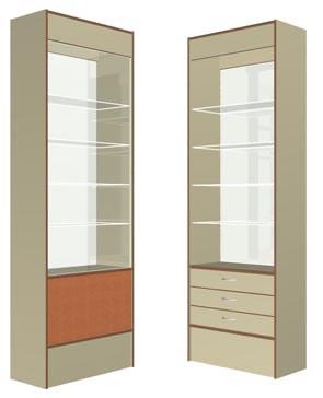 Витрина передней линии малая с 3-я ящиками на метабоксах, размер 712*352*2186(Н),подсветка ЛЛ светильник.Материалы: ЛДСП 2-х цветов (основной и декор),кромка ПВХ 0,4 и 2,0мм, стекло 5 и 6мм с еврокромкой, регулируемые ножки. Стеклянные полки имеют 3 положения по высоте.